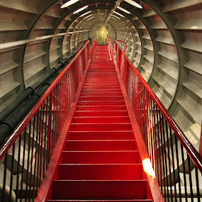 The Red Stairs by Andrew Halpern - Buildings & Architecture Architectural Detail ( atominium, stairs, red, belgium, tunnel )