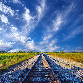 On The Way by Phil Koch - Transportation Railway Tracks ( wisconsin, ray, railroad, phil koch, landscape, spring, sun, sky, nature, tree, rail, train, perspective, horizons, light, clouds, orange, park, art, twilight, horizon, tracks, shadows, field, amber, sunset, meadow, trees, beam, lines, sunrise, earth, garden )