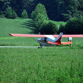 The takeoff... by Tammy Price - Transportation Airplanes ( red, green, airplane, transportation, outside )