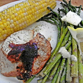 Dinner Anybody? by Sandy Stevens Krassinger - Food & Drink Plated Food ( pork tenderloin, butter, corn on the cob, food, asparagus, plated food, lemon )