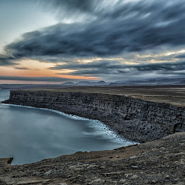 Krisuvikurbjarg Cliffs after sunset. by Kjartan Guðmundur Júlíusson - Landscapes Travel ( shore, clouds, kjartan gudmundur, lee filters, iceland, lee, cliff, seascape, bigstopper, longexposure )