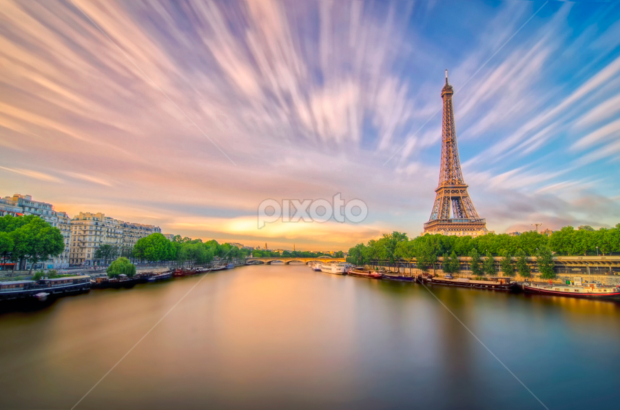 This Is Paris by Rilind Hoxha - Buildings & Architecture Statues & Monuments ( reflection, colors, art, architecture, dramatic sky, eiffel tower reflection, different perspective, shot, eiffel tower, sculpture, famous landmarks, frame, sky, bir hakeim bridge, buildings, france, long exposure, daytime long exposure, paris long exposure )