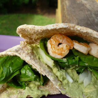 Shrimp, Spinach Pitas with Avocado Hummus