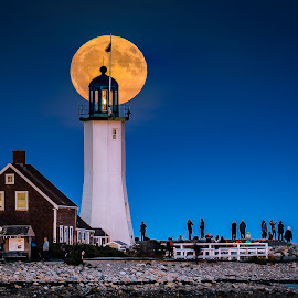 Moonrise Old Scituate Light by David Long - Landscapes Travel ( lighthouse, old scituate, moonrise )