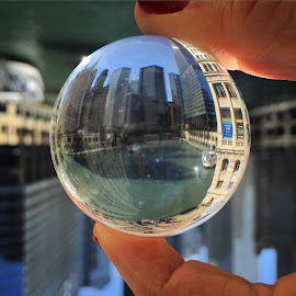 Chicago Magic by Katarina Farelius - Artistic Objects Glass ( #wonderfulviews, #illinois, #magicball, #travelgram, #chitown, #chicago )