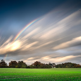 Hypersonic by Simon Talbot-Hurn - Landscapes Weather ( clouds, uk, east anglia, movement, suffolk, weather, long exposure, landscape, rainbow )