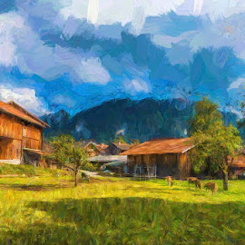 Countryside by Pravine Chester - Painting All Painting ( countryside, village, bavaria, fine art, cottages, painting )