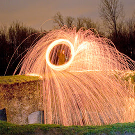 Leonem Turris by Eddy Maerten - Abstract Light Painting ( night photography, firework )