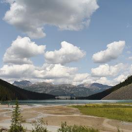 Lake Louise by Griffin Li - Landscapes Waterscapes ( mountains, natural, hills, clouds, landscape )