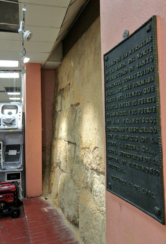 Encountered restored section of 300-year-old city wall in Zona Colonial's La Sirena department store. Submitted by @jdata1