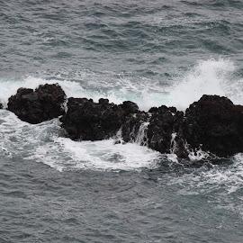 WAVES PELTING OVER ROCKS by Prashant Sarda - Nature Up Close Rock & Stone ( nature, waves, seascape, landscape, rocks )
