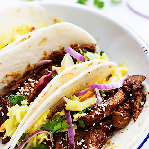 Slow Cooker Korean BBQ Pork Tacos