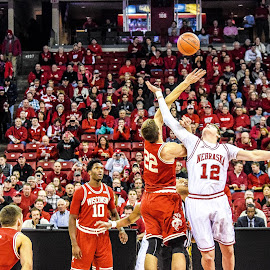 Wisconsin-Nebraska tip-off by Jason Lockhart - Sports & Fitness Basketball ( basketball, kohl center, tip off, wisconsin badgers, big ten, madison, nebraska cornhuskers )