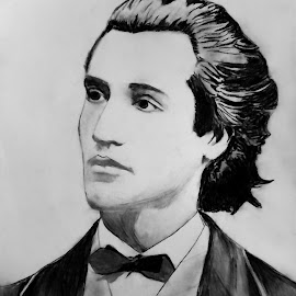 Mihai Eminescu by Carmina Shan - Drawing All Drawing ( charkcoal, poet, political journalist, portrait, journalist )