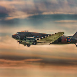 by Kelly Murdoch - Transportation Airplanes ( clouds, flight, england, uk, sky, aircraft, iow, isle of wight, douglas dc-3 dakota, snaodnw, ztam )