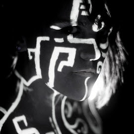 by Rob Casey - People Body Art/Tattoos ( glow paint, girl, black and white, low key, woman, high contrast )