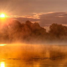 Morning Fog by Bojan Bilas - Landscapes Sunsets & Sunrises ( waterscape, lake, sunrise, zagreb, jarun, crotia )