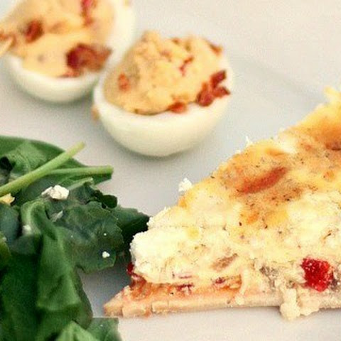 Goat Cheese & Roasted Red Pepper Quiche