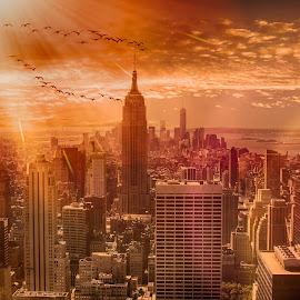 New York Fantasy by Gina Gomez - City,  Street & Park  Skylines ( new york landscape, new york skyline, empire state building, nyc, nyc skyline )