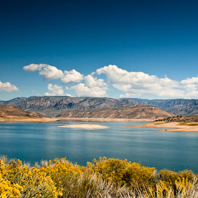 Blue Mesa Lake by Vala Valgeirsdóttir-Vincent - Landscapes Waterscapes ( mountains, mountain, mesa, blue, lake )