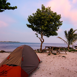 Camping in Paradise by Jake Del Ponte - Novices Only Landscapes ( camping, keys, sunset, florida, florida keys, ocean )