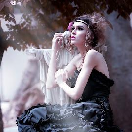 Revelation by Marks Sjavaldienno - Digital Art People ( #model #fashion #dark #rayoflight #lights #rol #female #women #cemetery #revelation #vibrant #moods )