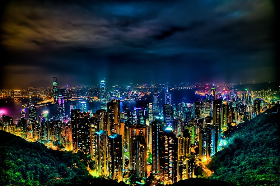 Hong Kong at Night by Eydie Wong - City,  Street & Park  Vistas ( lights, hong kong, building, cities, asia, nightview, city )