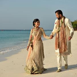 Beautiful beach by Andrew Morgan - Wedding Bride & Groom ( weddingdress, zanzibar, wedding, travel, beach, destination )