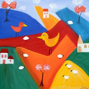 JOY by Zoritza  Wejnfalk - Painting All Painting ( naive art, church, sheep, zoritza, childrens art, birds, zozo, wejnfalk )