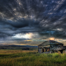 Montana Rain by Eric Demattos - Buildings & Architecture Decaying & Abandoned ( wind, sunset, rain storm, eric demattos, abandoned )