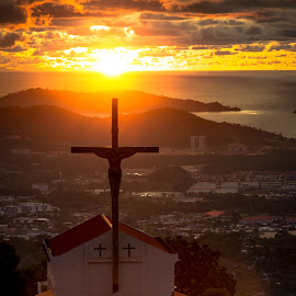 Radiant Light by Ted Khiong Liew - Landscapes Travel ( clouds, mountains, sky, church, sunsets )