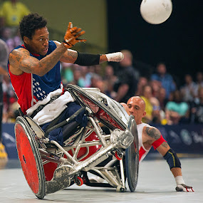 Up On One Wheel by Elk Baiter - Sports & Fitness Rugby ( warrior, wounded, america, wheelchair, games. denmark, marines, sports, invictus, rugby, contact, collision,  )