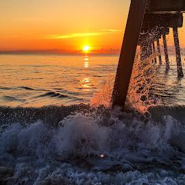 Pier Dram by Etta Cox - Instagram & Mobile iPhone ( ocean wave splash beach sand sunlight sunrise pier reflection florida,  )