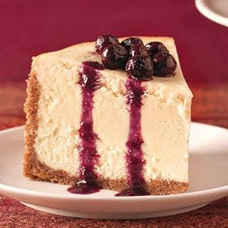 Goat Cheese Cheesecake with Blueberry Sauce