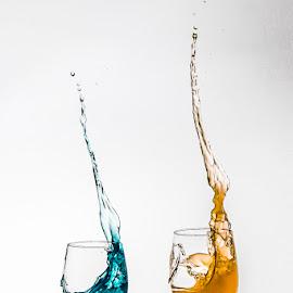 Eddy Maerten by Eddy Maerten - Artistic Objects Glass ( glass art, blue, yellow, and )