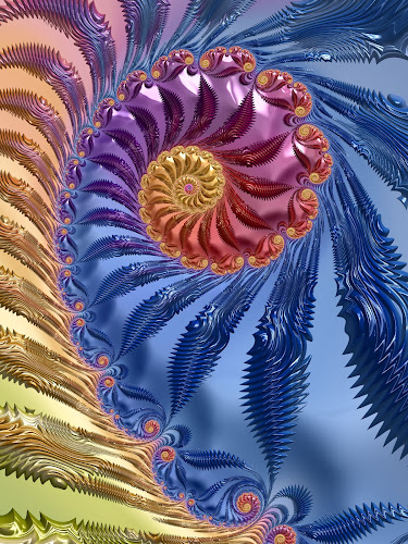 Jagged blue fractal by Pam Blackstone - Illustration Abstract & Patterns ( orange, loops, jagged, spirals, purple, blue, curls, lines, buds, fractal, zigzag )