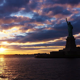 Lady Liberty at Sunset by Karen Coston - City,  Street & Park  Historic Districts ( statue of liberty, new york skyline, freedom, sunset, new york city )