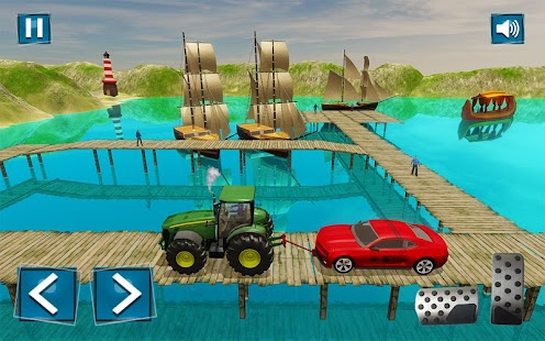 Hard Tractor Driving Tow Chained Car 3d free game