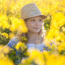 Yellow - The Colour of Happiness by Estelle Hughes - Babies & Children Child Portraits ( spring flowers, flowers, rapeseed, sunshine, happy, yellow, hat, girl,  )