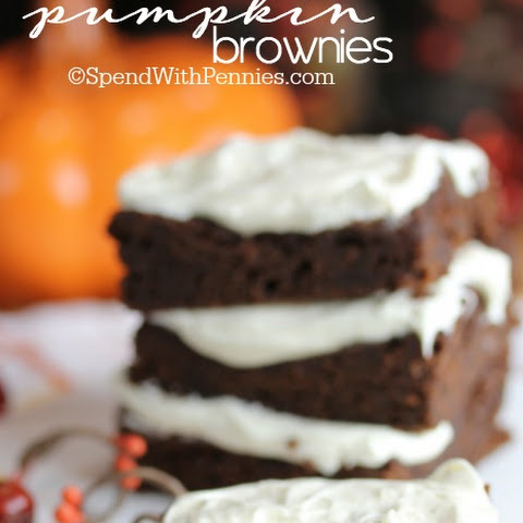 Fudgy Pumpkin Brownies with 2 Ingredients!