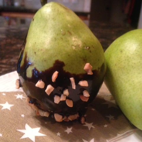 CHOCOLATE Dipped Fresh PEARS * optional edible gold glitter or nuts * ELEGANT dessert * with sugar or sugar-free *