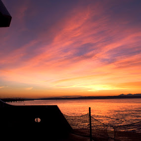 Puget Sound by Jamie Newton - Landscapes Waterscapes ( washington, puget sound, ferry, sunset )