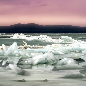 Icy by Dallas Golden - Landscapes Waterscapes ( winter, utah, ice, cloudy )