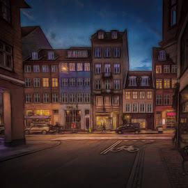 København by Ole Steffensen - Digital Art Places ( copenhagen, houses, topaz, digital art, street, denmark )