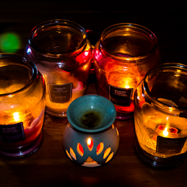 Candle Light by Darren Allison - Abstract Light Painting ( abstract, flash, home, flames, calming, art, lens flare, shadows, fire, colour, decor, tranquile, peace, candles, light )