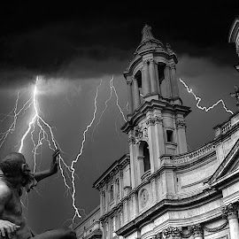 Wrath of Nature by Lalitha Sakleshpur - Buildings & Architecture Statues & Monuments ( religion, sculpture, lightening, church, rome, piazza navona, architecture, italy )