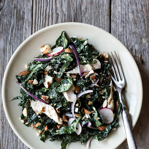 Spring Kale Salad with Grilled Chicken & Dijon Tahini Dressing