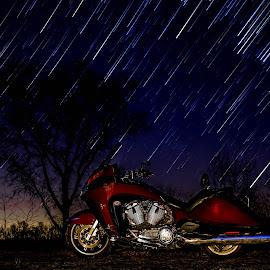by Kevin Turner - Transportation Motorcycles ( bike, night photography, night scene, stars, motorcycle, night, star trails, nightscapes, nightscape )