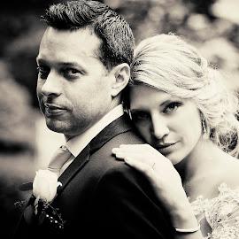 Power by Joseph Humphries - Wedding Bride & Groom ( love, monochrome, wedding, romantic, power, blackanwhite, bride, groom )