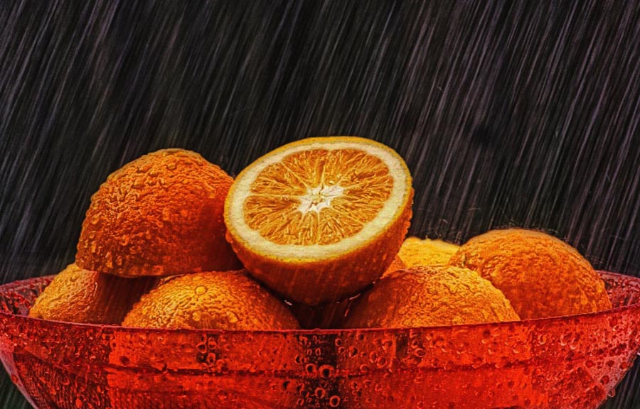 Raining Oranges by Nancie Rowan - Food & Drink Ingredients ( weather, oranges, rain )
